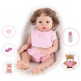 $enCountryForm.capitalKeyWord Australia - Reborn Baby Doll 18 inch Full Body Silicone Handmade Gifts Doll Girl Pink clothes Gift Teddy Bear Curly Hair