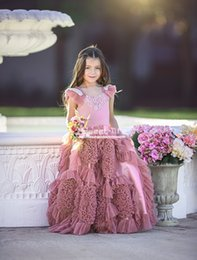 Fabulous ball gowns online shopping - Fabulous Mauve Lace Tiered Flower Girls Dresses For Weddings Baby Birthday Girls Communion Formal Wears Floor Length Pageant Ball Gown