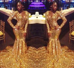 White classic graduation dress online shopping - Vintage Long Sleeve Gold Mermaid Prom Dresses Black Girls K19 Prom Evening Dress Junior Graduation Party Gowns BC1303