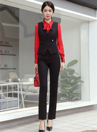 Black Work Vests NZ - Fashion Ladies Black Vest & Waistcoat Women Business Suits with Pant and Top Sets Work Wear Clothes OL