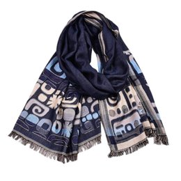 cotton scarves soft long Australia - Guttavalli Men New British Style Long Cotton Wrap Arabic Elements Letters Geometric Scarf Double Layers Soft High Leisure Shawl