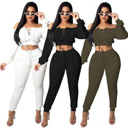 $enCountryForm.capitalKeyWord Australia - Long Sleeve Womens Two Piece Set Tops+pants Sexy Casual Sets 2019 Autumn New Strapless Suits Party Club Clothes