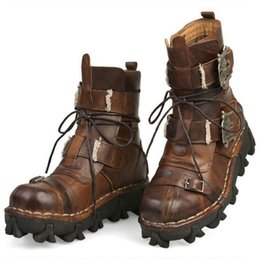 Cowhide Martin Boots Australia - Men's Cowhide Genuine Leather Work Boots Military Combat Boots Gothic Skull Punk Motorcycle Martin Boots