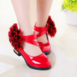 Discount korean girl black dresses - Summer Girls Leather Shoes Children Red Flower Princess Sandals Fashion Korean Wedding Dress Party Shoes for Kids Studen