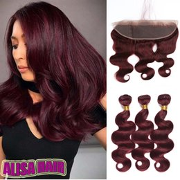 Discount red remy weave - Burgundy Brazilian Body Wave Virgin Human Hair Weave Bundles Peruvian Color 99J Red Remy Hair Extensions 8A Grade Hair W