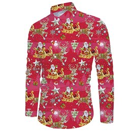 bfd4b1789 Men Casual Snowflakes Santa Candy Printed Christmas Men Hawaiian Shirt Long  Sleeve Floral Print Mens Dress Formal Shirts #g8