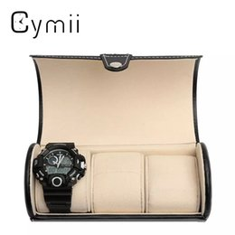 $enCountryForm.capitalKeyWord Australia - Black 3 Slot Cylindrical Watch Travel Case Leather Roll Jewelry Watch Storage Holder Watchbox Case Collector Organizer 19x9cm