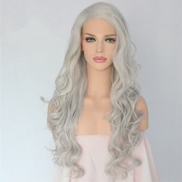 grey woman wig 2019 - Beautiful Hand Tied Grey Silver Color Heat Resistant Body Wavy Cosplay Women Daily Makeup Party Synthetic Lace Front Wig