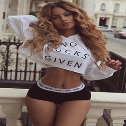 Casual Women Hoodies Hot Langarm NO Letters Druck Crop Tops Frauen Pullover Short Sweatshirts Schwarz Weiß