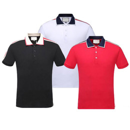 Wholesale red mens polo shirts for sale – custom 2019 Italy Brand designer polo shirt Luxury t shirts snake bee floral embroidery mens polos High street fashion stripe print polo T shirt