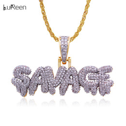 Necklaces Pendants Australia - Hip Hop Iced Out SAVAGE Letter Pendant Necklace Micro Pave Cubic Zirconia Bling Letter Pendant Jewelry Gift