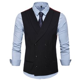 Discount new style wedding dresses for man - New Style Double-Breasted Vintage Suit Vests for Men Slim Men Gilet Wedding Waistcoats Colete Homem Sleeveless Dress Ves