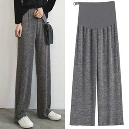 $enCountryForm.capitalKeyWord Australia - Pregnant Women Pants Stomach Lift Pants 2019 New Knit Wide Leg Maternity Summer Thin Section Loose Pregnant Women Trousers