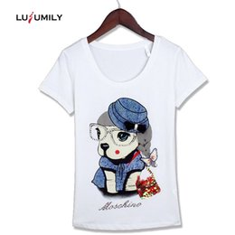 $enCountryForm.capitalKeyWord NZ - Lusumily Summer Women Cotton T-shirt 2019 Black White Kawaii Cartoon Dog Diamond Sequins Plus Size Female Tops Casual Tee Female Y19072601
