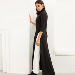 $enCountryForm.capitalKeyWord Australia - T Shirt Maxi Women Turtleneck Side Slit High Waist Party Long Black Bodycon Dresses Plus Size Dress Vestidos Set Q190522