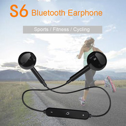 bluetooth headphones for samsung s6 2019 - Fashion S6 Wireless Bluetooth Headphone Stereo Cellphone In-ear Headset with Microphone Outdoor Sport Running for Iphone