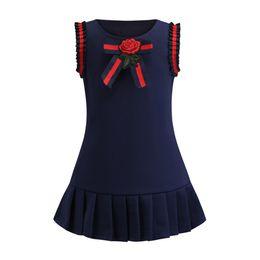 37893bed1b0d3 Été enfants à volants à rayures gilet robe filles rose fleur broderie arcs  cravate princesse robe style preppy enfants coton robe plissée F4351