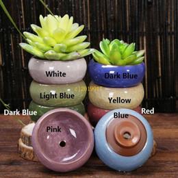 Modern Pots For Plants Australia - Ice-Crackle Porcelain Ceramic Flower Pot With Hole Home Decoration Mini Flowerpot For Succulents Fleshy Plants Planter