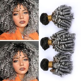 gray black hair extensions 2020 - Two Tone 1B Grey Ombre Brazilian Curly Hair Bundles Black and Gray Aunty Funmi Human Hair Weaves Bouncy Spiral Curls Vir