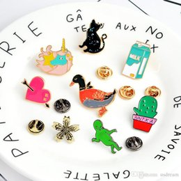Wholesale Christmas Gifts For Kids Australia - New Cat Green Man Unicorn Heart Flower Brooch Pins Lapel Pins Badge Fashion Jewelry for Women Men Kids Christmas Gift Drop Ship 370078