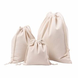 canvas drawstring pouch NZ - Canvas Drawstring Bag Men Women Travel Packing Backpack Reusable Shopping Bag Tote Female Luggage pouch Casual Daypack