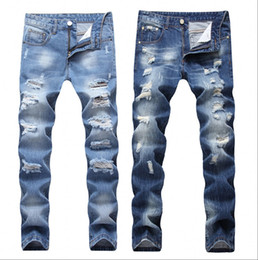 Brown Ripped Jeans NZ - 2019 New Fashion Ripped Jeans Men Patchwork Hollow Out Printed Beggar Cropped Pants Man Cowboys Demin Pants Male Dropshipping