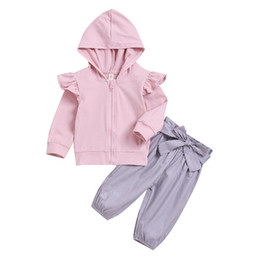 toddler girl fall fashion 2020 - DHL Free Shipping Girls' Clothing Solid Hooded & Bow Pants Kids' Clothing Fall Winter Toddler Sets & Outfits F