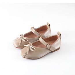 $enCountryForm.capitalKeyWord Australia - Children Leather Shoes Autumn New Girls Princess Single Shoes Fashion Solid Color Bow Flat Soft Bottom Sneakers Black Beige