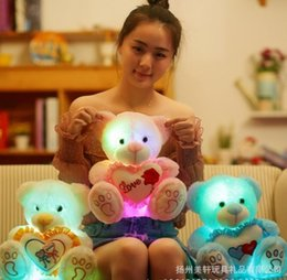 Discount teddy bear christmas gift girlfriend - Gift1 25cm Stuffed Dolls LED bear Light Colorful Pillows Popular Plush Toy for Kids shinning gift for girlfriend stuff p