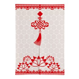 Discount red exterior doors - Traditional Chinese Door Curtain Chinese Knot Pattern Bedroom Partition Curtain Kitchen Half Feng Shui Noren
