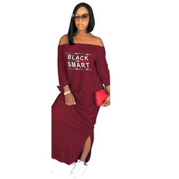 166c5786bcdff Africa Clothing Autumn Women Sexy Casual Strapless Side Split Long Sleeve  Long Dress Loose Letter printing Plus Size S-XXXL