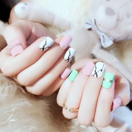 $enCountryForm.capitalKeyWord Australia - 2019 Trends Manicure Light Blue acrylic nail kit with Silver and Marble fake nails tip DIY Press on nails 24pcs