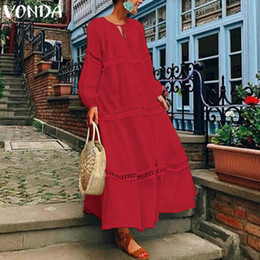 $enCountryForm.capitalKeyWord Australia - Vonda Bohemian Women Maxi Long Dress Autumn Sexy Lantern Sleeve V Neck Hollow Thin Beach Dresses Casual Loose Vestidos Plus Size MX190727