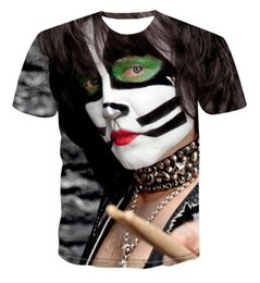 t shirt design rock band NZ - 2020 3D cool men and women kiss rock band design print 3D hip hop T-shirt Summer Black T-Shirt Unisex Top
