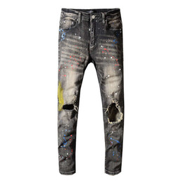 designer light fittings Australia - American Streetwear Fashion Men Oiled painted Jeans Black Gray Slim Fit Elastic Ripped Jeans Men Punk Pants Paint Designer Hip Hop Jeans