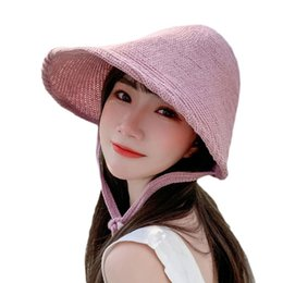 gold witch UK - Korean Women Witch Knitted Bonnet Sun Hat Linen Weave Large Wide Brim UV Protection Fisherman Cap with Ribbon Strap