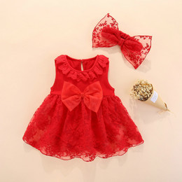 Red White Dresses Australia - 2019 Summer Baby Girl Dress With Headband 0 3 Months Cotton Red White New Born Baby Clothes Wedding Baptism Gift Set Princess 6m Y19061101