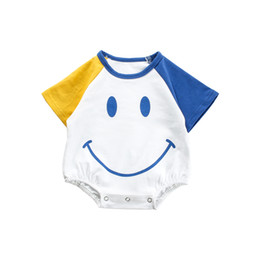 $enCountryForm.capitalKeyWord Australia - South Korea INS Happy Smile Face with Shoulder Short Sleeve Pack Bottom Shirt Climbing Clothes for Infants and Young Children Hayi Triangle