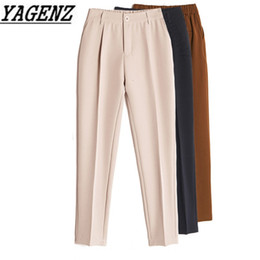 camel flat Australia - Women's Casual Harem pants Spring Summer Fashion Loose Ankle-length Trousers Female Classic High Elastic Waist Black Camel Beige V191021
