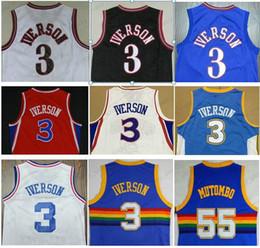 Toptan satış Toptan Georgetown Mavi Hoyas Gri Sportwear Üniversitesi Üniformalar Nakış Allen Iverson Jersey Ucuz Dikembe Mutombo Gömlek Dikişli