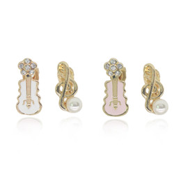 Discount screw back earrings for women - Sweet Pearl Musical Note Earrings Crystal Flower Pink White Violin Guitar Clip Earrings For Women Cute Birthday Gift