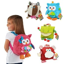 Fabric Bag Owl Australia - New Children Backpack Bag Kindergarten Girls Boys Gifts Cute Cartoon Toys Kid Owl Cow Frog Monkey School Bags