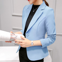 blue blazers Australia - Ladies Blazer Long Sleeve Blaser Women Suit jacket Female Feminine Blazer Femme Pink Blue White Black Blazer Autumn T190913