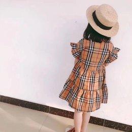 Nuovo design 2019 Summer Girls Abiti con slip 100% cotone Vestiti per bambini Principessa Plaid Vestito per bambini