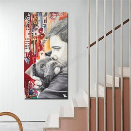oil art nude man Australia - Tendresse Canine Man Portrait Wall Art Canvas Painting Poster Abstract Print Decorative Picture For Living Room Home Decor