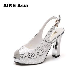 c7763cd576 Designer Dress Shoes Women Pumps Sexy High Heels Thin Heel Ladies Super  High Platform Wedding Bride Peep Toe Sexemara Flower #Q9