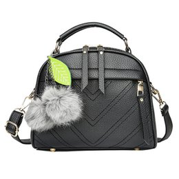 Purple Fur Handbag Australia - New Fashion Pu Women Shoulder Bag Fur Ball Decor Handbags Small Flap Solid Color Crossbody Bag Female Top-handle Messenger Bag