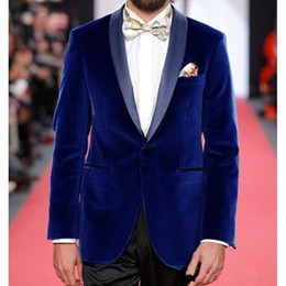 new stylish three piece suit images NZ - New Stylish Design Groom Tuxedos One Button Blue Velvet Shawl Lapel Groomsmen Best Man Suit Mens Wedding Suits (Jacket+Pants+Tie) 928