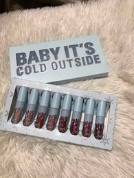 Discount kylie christmas lip edition kylie jenner Makeup 2018 Christmas edition 8pcs set Lipsticks set 8colors Lip Gloss Liquid lipstick Baby It's Cold