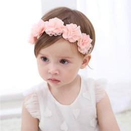 handmade hairbands baby girl UK - Baby Flower Crown Headband Chiffon Flower Wreath Pink Ribbon Hair Bands Children Girls Handmade DIY Headwear Hair Accessories